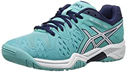 ASICS GEL-Resolution 6 GS Tennis Shoe (Little Kid/Big Kid), Pool Blue/White/Indigo Blue, 1 M US Little Kid