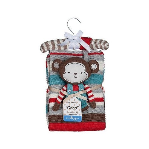 Lolli Living Knitted Blanket & Rattle (Coco Monkey)