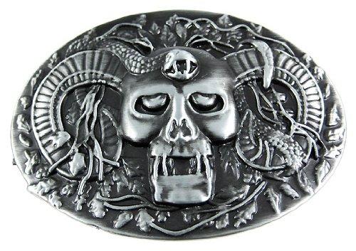 Gunmetal Finish Horned Demon Belt Buckle Evil