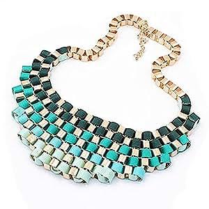 Damen Statement Vintage Kette Halskette Statementkette Collar (Blau)