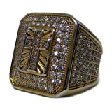 Mens Full of Faux Diamonds - 24K Gold Plated Cross of Ice HipHop Bling Ring