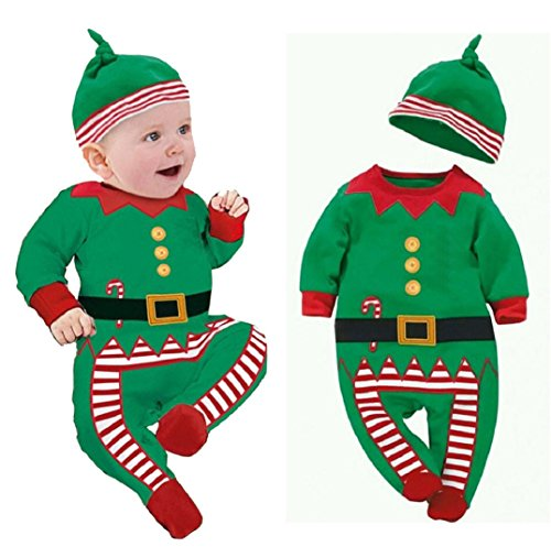 Yistu Cute Baby Clothes Outfits Romper Best Christmas Clothes Gift 0-12 Months (3-6 Months, Green)