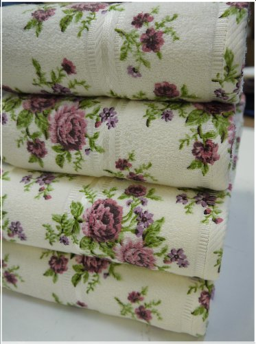 Stephanie Cream Floral Bath Sheet Towel Quality Cotton 500 gsm100x150 cm Large Soft Absorbent