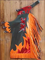 Hilason Medium Youth Child Rodeo Bronc Bull Riding Show Leather Chaps W/ Flames from HILASON