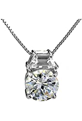 Sterling Silver Round Cubic Zirconia Wedding Pendant Necklace 18 Inches Silver Chain SPJ