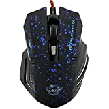 niceEshop 6 Buttons 2000 DPI Wired Gaming Mouse LED Optical Game Mice(Blue Dotted)
