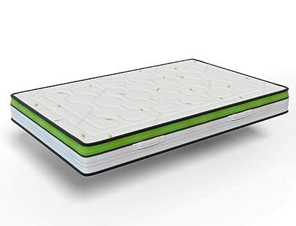 Materasso Viscoelastico reversibile, anti-fatica, modello Celliant Energy, ideale per sportivi, massima adaptabilidad–tutte le misure, verde/beige 120 x 180 x 28 cm
