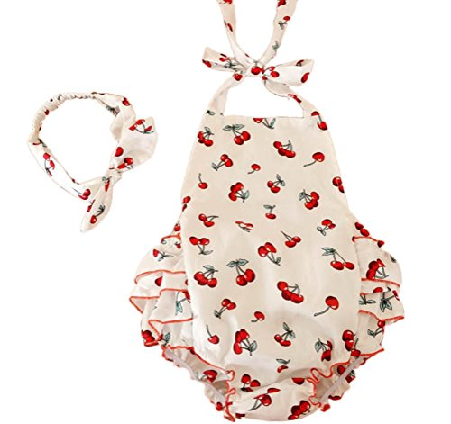 Baby Girl Cherry Pattern Cotton Outfits Suits Rompers With Headband (6-12 Month,White)
