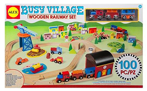 ALEX Toys Busy Village Wooden Railway Set - 1