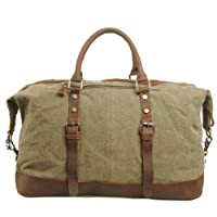 CLELO B305 Oversized Leather Canvas Travel Luggage Duffel Bag