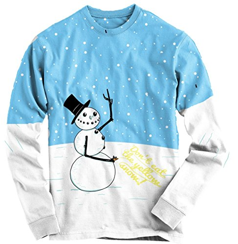 Peeing Snowman Ugly Christmas Sweater Long Sleeve Tee Funny Xmas Shirt M