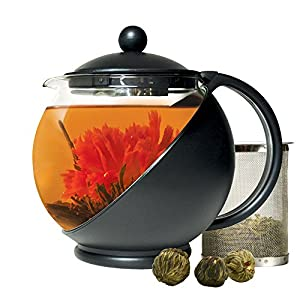 Primula Half-Moon Teapot for Flowering Tea Set - Wide Mouthed Temperature Safe Glass - 40 oz. - Clear Glass with Black Accents - Includes 3 Flowering Teas - Dishwasher Safe