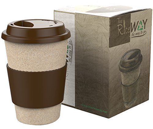 REUSABLE TRAVEL MUG Coffee Tea Eco Friendly BPA-Free Mugs 14oz Takeaway Cups Made of Natural Insulating & Resistant Material 100% Organic Rice Husk with Leakproof Silicone Lid & Handgrip (Microwave Rice Glass compare prices)