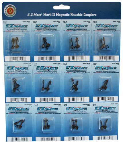 Bachmann Trains E - Z Mate Mark II Magnetic Knuckle Couplerswith Metal Coil Spring - Over Shank - Medium (12 Coupler pairs per card) - HO Scale - 1