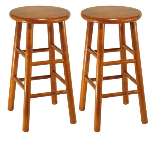 Groovy Winsome Wood Assembled 24 Inch Cherry Finish Kitchen Stools Gamerscity Chair Design For Home Gamerscityorg