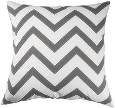 Decor Scandinavia Canvas Cotton Chevron Design Decorative Throw Pillow Cover 18 X 18 in Charcoal Gra