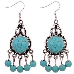 Amazon.com: delatcha Vintage Round Turquoise Dangle Beads Tibetan