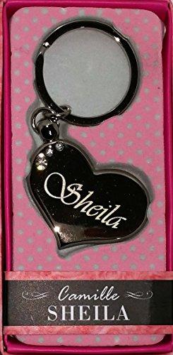 """SHEILA Namens Herz-Form silberfarbenes Metall Schlüsselanhänger mit Gravur und Swarovski-Kristall, in Geschenkverpackung, benannt. """"SHEILA Effectz"""" von Sterling"""