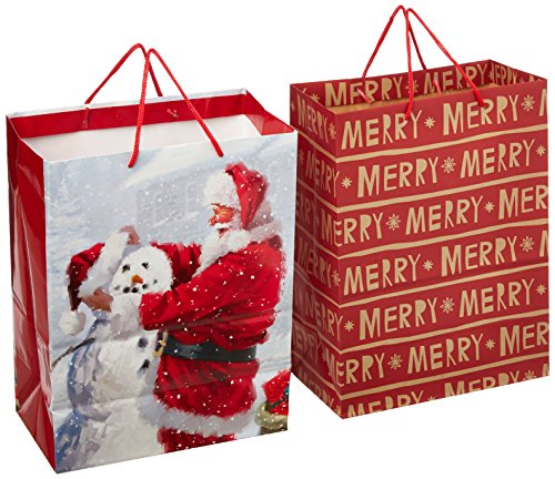 Hallmark Christmas Large Gift Bags (Santa and Snowman, 2 Pack)