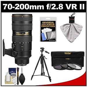 Nikon 70-200mm f/2.8G VR II AF-S ED-IF Zoom-Nikkor Lens with 3 UV/ND8/CPL Filters + Tripod + Accessory Kit for D3200, D3300, D5200, D5300, D7000, D7100, D610, D800, D810, D4s DSLR Cameras