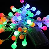 DLLL RGB 4M 40 LED Ball Styled String Lights Battery Operated-ON/OFF/Flash Functions for Christmas,Partys,Wedding,New Year,garden,fence,patio,table,lawn Decorations,etc. (RGB)