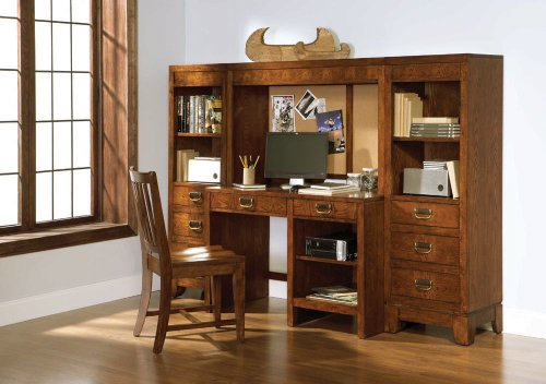 Buy Low Price Comfortable Computer Desk w/ Computer Hutch & Modular Night Stand by Broyhill – Cinnamon Finish (6735-381R1) (B004ZLJUUG)