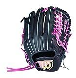 Wilson(ウイルソン) 女子ソフトボール用グラブ Lady Bear (レディ ベア) オールラウンド用 WTASBP55V ブラックxピンク (9019) 8S