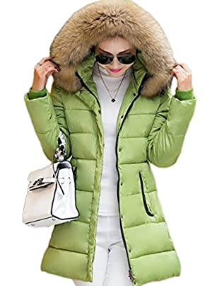 Bigood Women Faux Fur Hooded Pocket Parka Jacket Overcoat Puffer Coat Green L