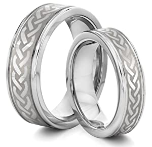His & Her's 8MM/6MM Tungsten Carbide Silver Celtic Knot Wedding Band Ring Set (Available Sizes 4-14 Including Half Sizes)