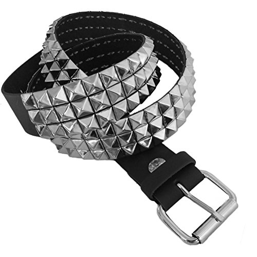 3 Row Pyramid Studded Black Leather Belt Size M