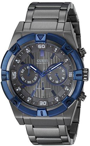Guess Hombre u0377g5Gris Reloj cronógrafo con Iconic Azul Anillo Superior