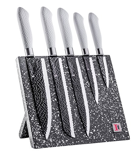 Imperial Collection 6 Piece Knife Set Including Magnetic Knife Block - Extremely Sharp High Quality Stainless Steel NonStick Coating Kitchen