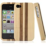 BONAMART ® Luxury Unique Natural Wooden Bamboo Wood Hand Made Hard Case Protective Case for iPhone 4 4G 4S Light Brown