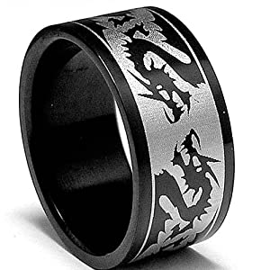 8MM Black Stainless Steel Ring with Dragon Design sizes 5 to 14