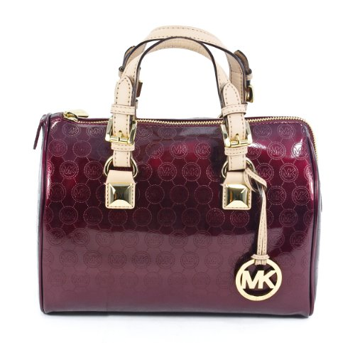 Michael Kors Grayson Monogram Logo Patent Bordeaux Medium Satchel