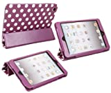 ITALKonline PADWEAR ADVANCED Executive PURPLE WHITE POLKA DOTS Wallet Case Cover Stand With TRI-FOLD SMART TILT and Magnetic Sleep Wake Sensor Feature For Apple iPad Mini Tablet (Wi-Fi and Wi-Fi + 3G + 4G) 16GB 32GB 64GB