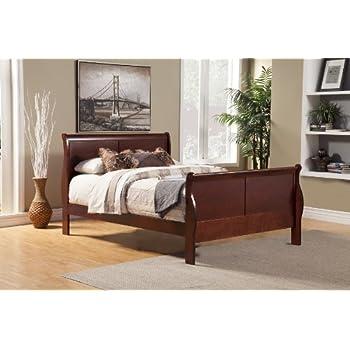 Alpine Furniture Louis Philippe II Sleigh Bed, King Size