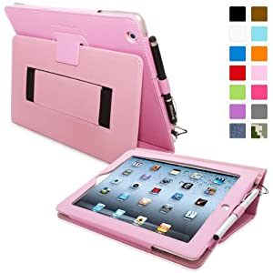 Snugg iPad 2 Case - Smart Cover with Flip Stand & Lifetime Guarantee (Candy Pink Leather) for Apple iPad 2
