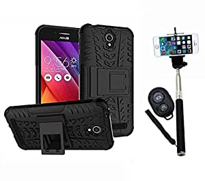 Hard Dual Tough Military Grade Defender Series Bumper back case with Flip Kick Stand for Asus Zenfone Go + Wireless Bluetooth Remote Selfie Stick for all Smart phones by carla store.