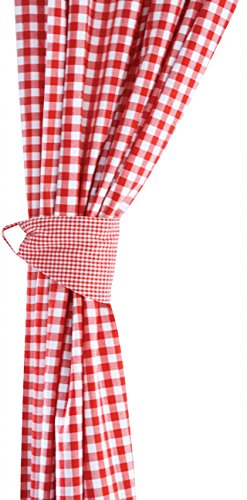 JoJo Maman Bebe Gingham Long Curtains, Red