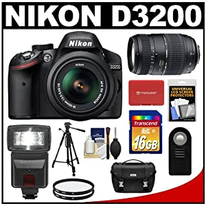 Nikon D3200 Digital SLR Camera & 18-55mm G VR DX AF-S Zoom Lens (Black) with 70-300mm Lens + 16GB Card + Flash + Case + Filters + Remote + Tripod + Accessory Kit