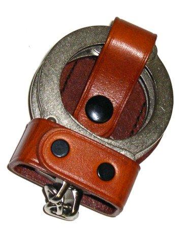 Leather Bikini Handcuff Case - Tan  Nickel Snap