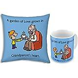 Fathers Day Gift Blue Garden Of Love Grandparents 12x12 Filled Designer Cushion & Printed Ceramic Designer Mug...