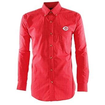 MLB Men's Cincinnati Reds Esteem Long Sleeve Woven Shirt (Dark Red/Grey/White, Small)