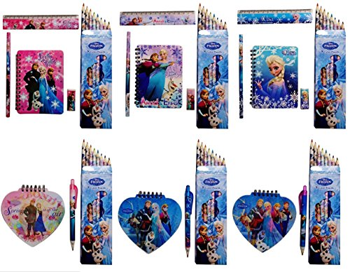 ディズニー アナと雪の女王 文具 Aセット( メモ帳 ・ 定規  ・えんぴつ ・ 消しゴム  ・8色 色鉛筆 3種パック 計15点セット) / Disney Frozen