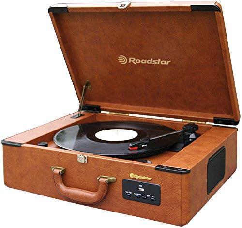 Roadstar TTR-730U Halbautomatischer Vintage Koffer Plattenspieler (Radio, USB/MP3-Wiedergabe, eingebauter Verstärker, AUX-In)