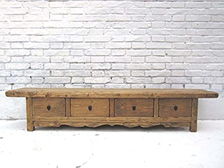 China 1890 Country Style TV Console Sideboard Lowboard for Flat Screen Four Drawers Elm Luxury Park