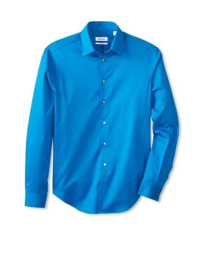 Calvin Klein Men's Slim Fit Dress Shirt, Aqua, 17 34/35 US