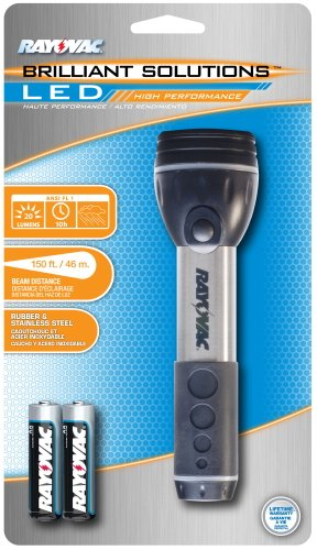 Rayovac Brs2Aa-Bss Brilliant Solutions Led Rubber And Stainless Steel Flashlight With Batteries
