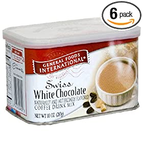 General Foods International Coffee, Swiss White Chocolate Swiss Style Coffee Drink Mix, 10-Ounce Tins (Pack of 6)